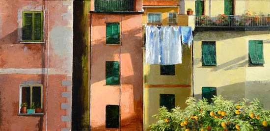 Italian village afternoon sunlight (54 x 28cm)